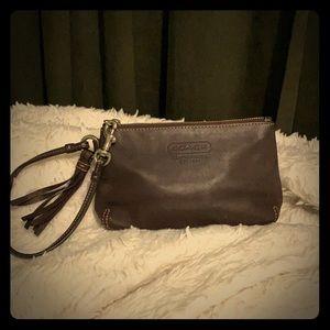 Coach leather brown wristlet